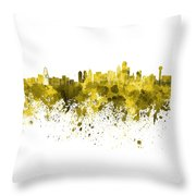 Dallas Skyline In Yellow Watercolor On White Background Throw Pillow