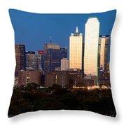 Dallas Skyline Sunset Throw Pillow