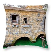 Dalmatian Village Traditional Stone Watermill Throw Pillow