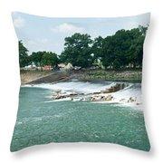 Dam At Batesville Arkansas Throw Pillow by Douglas Barnett