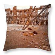 Damaged Building Throw Pillow