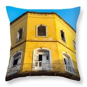 Damaged Colonial Building Throw Pillow