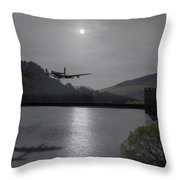 Dambusters Lancaster At The Derwent Dam At Night Throw Pillow