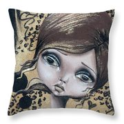Damsel In Gold Throw Pillow