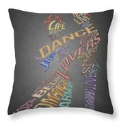 Dance Lovers Silhouettes Typography Throw Pillow