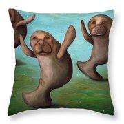 Dance Of The Manatees Edit 2 Throw Pillow