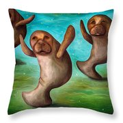 Dance Of The Manatees Edit 3 Throw Pillow
