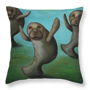 Dance Of The Manatees Throw Pillow