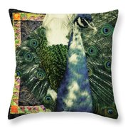 Dance Of The Peacock Throw Pillow
