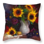 Dance With Me - Sunflower Still Life Throw Pillow by Talya Johnson