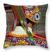 Dancer In Native Costume Peru Throw Pillow
