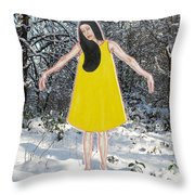Dancer In The Snow Throw Pillow