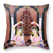 Dancers In Mughal Court Throw Pillow