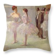 Dancers In The Wings At The Opera Throw Pillow by Jean Louis Forain