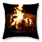 Dancing Amber Fire In Pit Throw Pillow