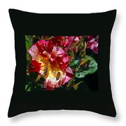 Dancing Bees And Wild Roses Throw Pillow