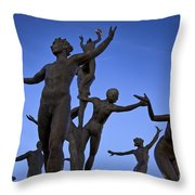 Dancing Figures Throw Pillow by Brian Jannsen