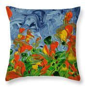 Dancing Flowers Throw Pillow