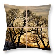 Dancing Forest Trees Picture Window Frame Photo Art View Throw Pillow