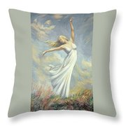 Dancing In Monet's Field Throw Pillow by Lucie Bilodeau