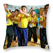 Dancing Kindergarten Students At Baan Konn Soong School In Sukhothai-thailand Throw Pillow