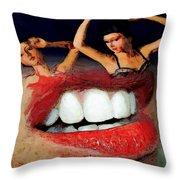 Dancing Lips Throw Pillow