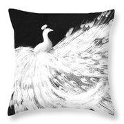Dancing Peacock Black Throw Pillow