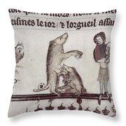 Dancing Pig, 14th Century Throw Pillow