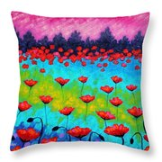 Dancing Poppies Throw Pillow