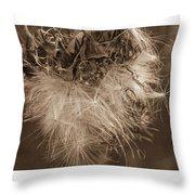 Dandelion Burst Sepia Throw Pillow
