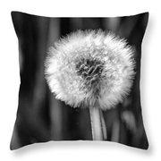 Dandelion Fluff Black And White Throw Pillow