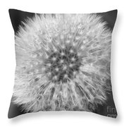 Dandelion Fluff In Black And White Throw Pillow
