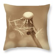 Dandelion Last To Fly Away Sepia Throw Pillow