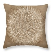 Dandelion Marco Abstract Brown Throw Pillow