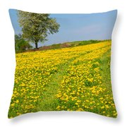 Dandelion Meadow And Alone Tree  Throw Pillow