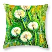 Dandelions Throw Pillow by Zaira Dzhaubaeva