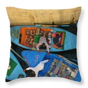 Dangerous Manouvers At The Nile River Canal Locks Throw Pillow