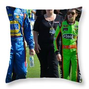 Danica Patrick And Martin Truex Jr. Throw Pillow