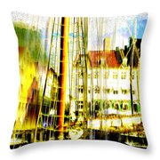 Danish Harbor Throw Pillow