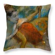 Danseuse A L'eventail Throw Pillow by Edgar Degas