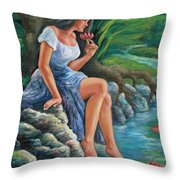 daragang magayon -beautiful lady in Mayon Throw Pillow