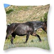 Dark And Wild Horse Throw Pillow by Sabrina L Ryan