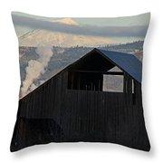 Dark Barn And Mt Mclaughlin Throw Pillow