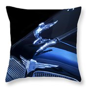 Dark Blue Classic Buick Flying Lady Hood Ornament Throw Pillow
