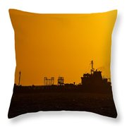 Dark Boat Silhouette At Sunset Throw Pillow