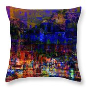 Dark City Lights Cityscape Throw Pillow