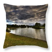 Dark Clouds Over Lake Throw Pillow