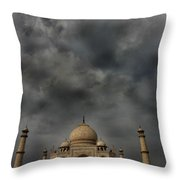Dark Clouds Over Taj Mahal Throw Pillow