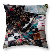 Dark Colored Blocks Patchwork Quilt  Throw Pillow