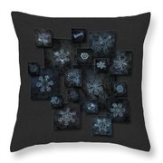 Snowflake Collage - Dark Crystals 2012-2014 Throw Pillow